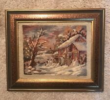 Needlepoint With Petite Point Landscape-Barn w/Tree