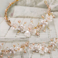 Women Wedding Bridal Pearl Tiaras Headband Hair Clip Decoration Accessories