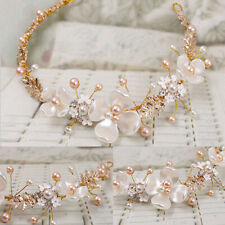 Women Gold Headband Hair Clip Wedding Bridal Party Faux Pearl Hair Accessories