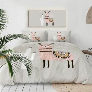 Cute Llama Duvet Cover Tribal Style Bedding Set Cactus Alpaca Grey Bed Coverlet