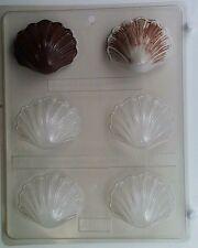 MEDIUM SEASHELL CLEAR PLASTIC CHOCOLATE CANDY MOLD AO013