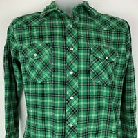 Wrangler Medium Pearl Snap Green Plaid Flannel LS Shirt Cotton Western Cowboy