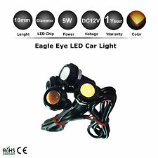 1X 12V 9W Car Eagle Eye LED Day Running Light Amber Orange Car Reverse Lamp 18mm