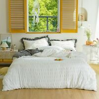 White Cotton Bedding Sets Duvet Cover with Comforter Bed Fitted Sheet Linen Set