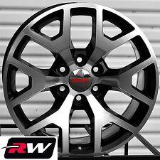 2014 GMC Sierra Wheels GMC Yukon 1500 Black Machined Rims 20 inch 2015 2016 2017