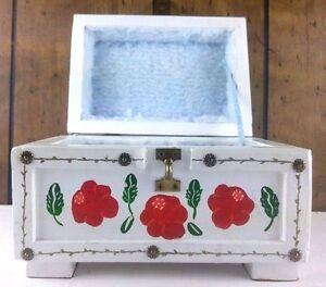 Vintage Handmade Wood Treasure Chest Storage Box Locking Latch Rose Hand Painted