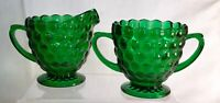 Anchor Hocking Forest Green Bubble Creamer And Sugar