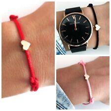 Filigranes Armband ♥ Herz MEHRERE FARBEN Liebe Geschenk Paare blau rosa schwarz