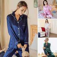 Lady/Women Long Sleeve Satin Silk Pajama Sets Homewear Sleepwear Robe Nig Dzco!
