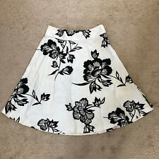 Gap Black and White Monochrome Floral Print Casual Flare A line Midi Skirt S 4
