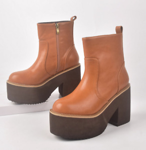 Retro Women Faux Leather Biker Ankle Boots Punk Platform Chunky Heel Shoes Zha19