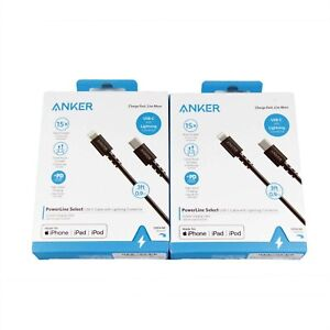 2x ANKER POWERLINE SELECT LIGHTNING TO USB-C CABLE TYPE C PD 90CM BLACK A8612H11