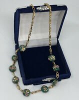 Vintage Necklace Gold Tone Collar Length With Venetian Lampwork Glass Beads