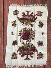 VTG Purple plum Pineapple hand BATH TOWEL MCM terry cloth cotton wash floral