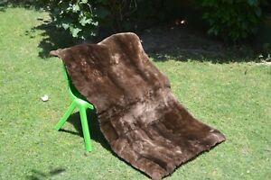 "Luxury Genuine Real Sheared Beaver Fur Throw Blanket Pelz rug 44""x20"" mat coat"
