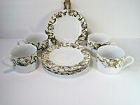 American Atelier Heavenly Hosts Cherubs Gold trim Set Of 4 Tea Cups & Saucers
