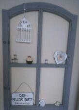 Fenster Rundbogenfenster Deko Fensterrahmen Sprossenfenster Grau Holz Shabby 77