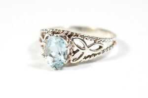 Gorgeous Blue Topaz Celtic Solitaire Ring Sterling Silver 925 Size P