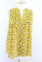 Sunday in Brooklyn Anthropologie Yellow Floral Pintuck Plted Tank Top Blouse XS