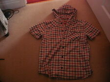 Boys LEE COOPER blue red & beige check hooded short sleeve shirt age 11-12