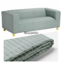 LYCKEBYN Dark Gray Replacement Cover Only Ikea Klippan 2 Seat Sofa Loveseat Quilted Slipcover 603.827.46