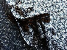 "Vintage Cotton Dress Making Fabric Black White Leaf Design 40""L x 44""W"
