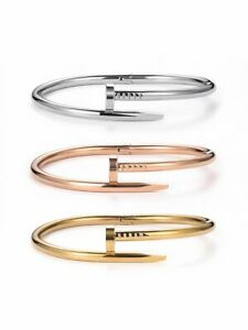 Women Rose Gold/ Gold Plated LOVE SCREW NAIL Sparkling Bangle - Her Gifts
