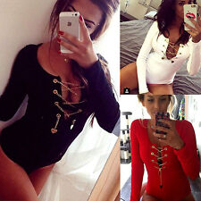 Womens Long Sleeve Top Blouse Front Plunge Lace up Tie Leotard Bodysuit Playsuit