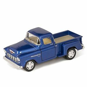 "5"" Kinsmart 1955 Chevy Stepside 3100 Pick Up 1:32 Diecast Little Blue Truck Toy"