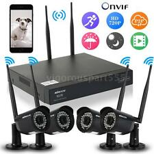 4CH 720P DVR CCTV Outdoor 4x Wireless Video Camera Home Security System Kit B9C8