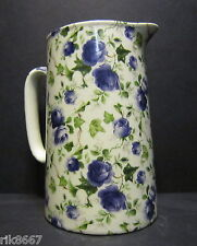 Heron Cross Pottery Ivy ROSE (BLUE) Chintz English 2 Pint Milk Jug