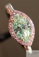 .67ct Natural Fancy Light Yellow-Green Marquise Ring R4901 Diamonds By Lauren