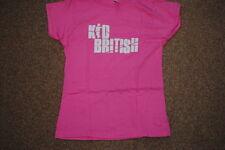 Kid logo britannique Rose Dames Skinny T Shirt Medium Nouveau