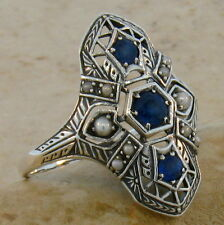 GENUINE SAPPHIRE ANTIQUE STYLE .925 STERLING SILVER FILIGREE RING SIZE 7,   #220