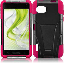 Sprint LG Optimus F3 LS720 Advanced HYBRID KICK STAND Rubber Case  Black Pink