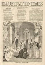 Christmas Prayer For Peace Church Verse Vintage 1855 Original Antique Art Print