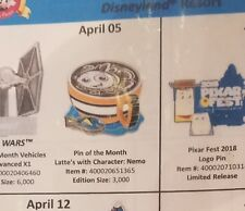 Disney pin of the month latte's with character Finding Nemo pin pre-sale 4/5
