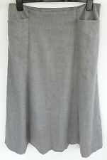 ARTIGIANO MADE IN ITALY 98% VIRGIN WOOL PALE GREY A-LINE POCKET SKIRT SIZE 18