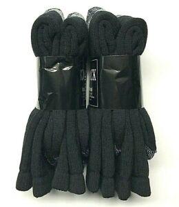 4 Pair Premium Men's 71% Merino Wool Black Crew Sock Size 10-13 Made in USA