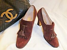 SALVATORE FERRAGAMO - Brown Suede High Heeled Oxford with Tassels - 5.5B