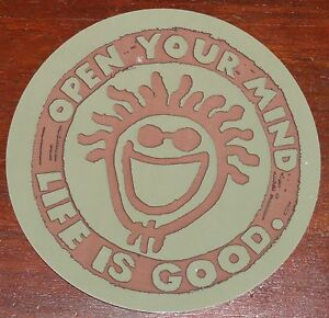 """Life is Good Sticker 4"""" Round Open Your Mind Brown and Green New/Retired"""