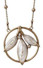 £30 Art Deco Gold White Leaf Leaves Pendant Necklace Swarovski Elements Crystal