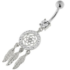 14G 5 mm 925 Sterling Silver Multi Jeweled Dream Catcher Navel Belly Bar Ring