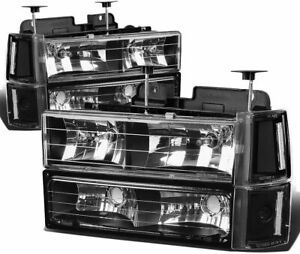 For 1994-1998 GMC Sierra C/K 1500 HeadLights Head Lamps Set pair Black Clear 2PC