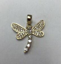 Dragonfly 10K REAL YELLOW Gold With CZ  PENDANT 2gr & 3/4""