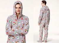 Family Pajamas Macy's Men's Hooded Footie Jumpsuit Happy Gnomes Small Medium NWT