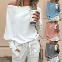 Women's Off Shoulder Hoodie Sweatshirt Long Sleeve Sweater Jumper Pullover Tops