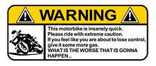 "WARNING DECAL ""MOTORBIKE"" ROADBIKE SIZE 100MM BY 40MM GLOSS LAMINATED"