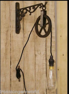 Industrial cast iron wall bracket Pulley Sconce Vintage Light Hanging lantern