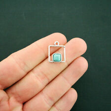 4 Turquoise Square Charms Antique Silver Tone with Faux Turquoise Stone - SC6409